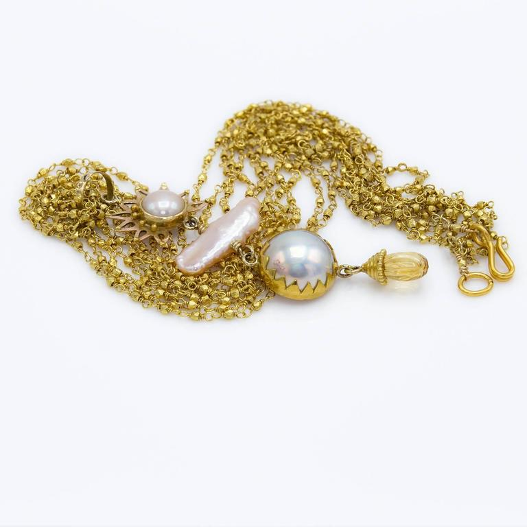 Artist Sunset Pink and Peach Pearl Gold Pendant For Sale