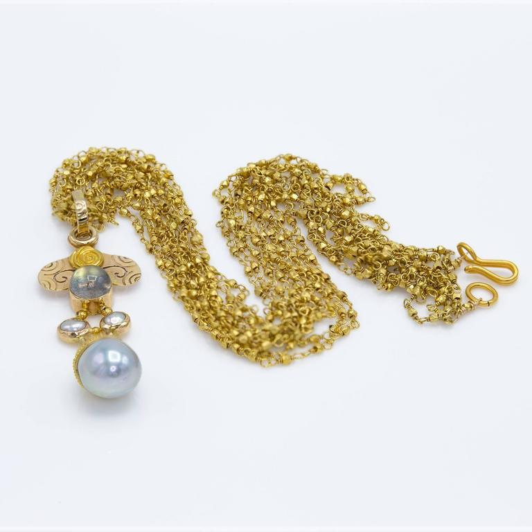 Artist Elegant Spiral Fresh Water Pearl Moonstone Gold Pendant For Sale