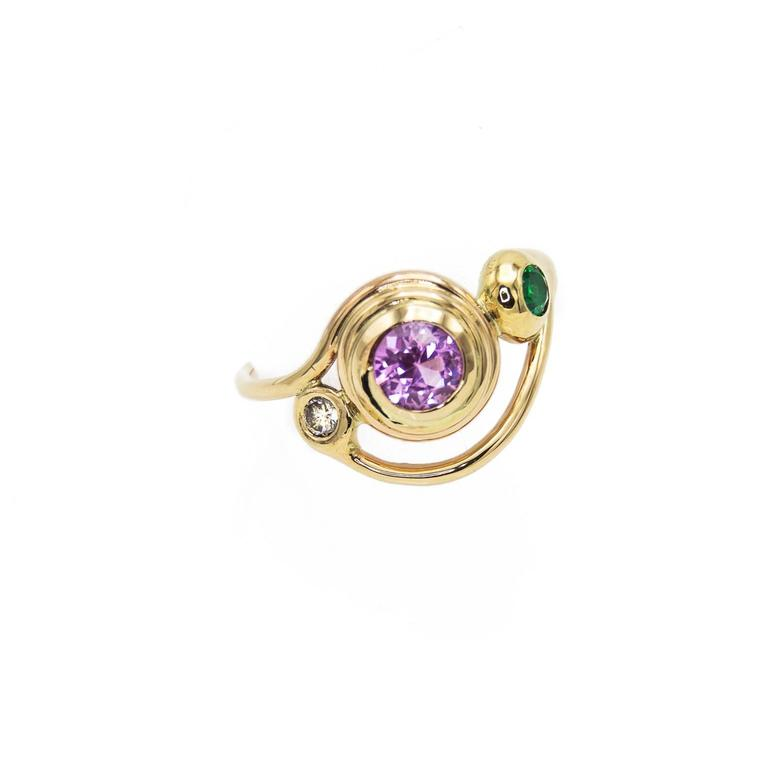 pink tourmaline green emerald and ring for sale at