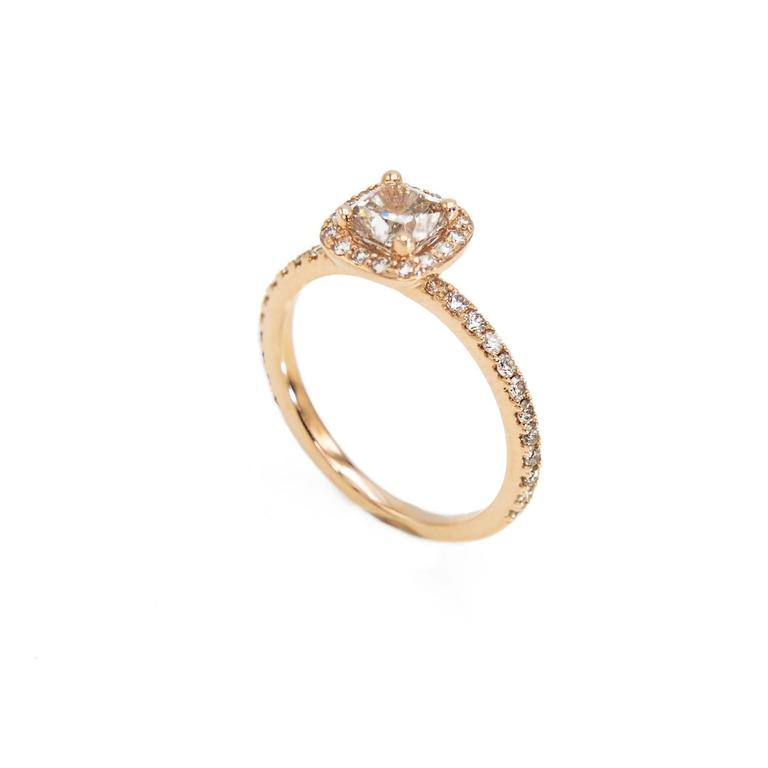 Rose Gold Cushion Canadian Champagne Diamond Engagement Ring with Diamond Band In Excellent Condition For Sale In Berkeley, CA