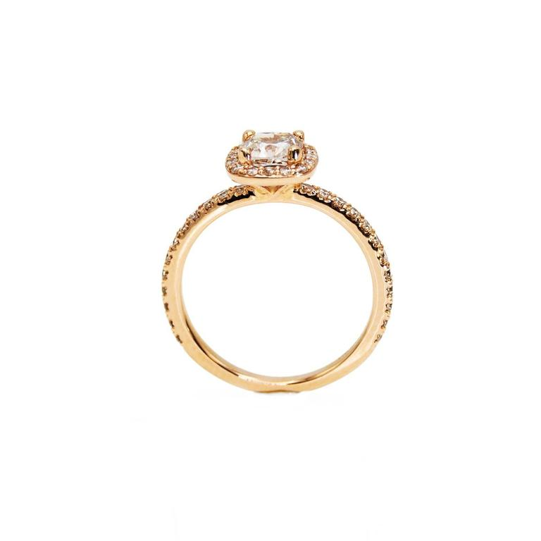 Women's Rose Gold Cushion Canadian Champagne Diamond Engagement Ring with Diamond Band For Sale