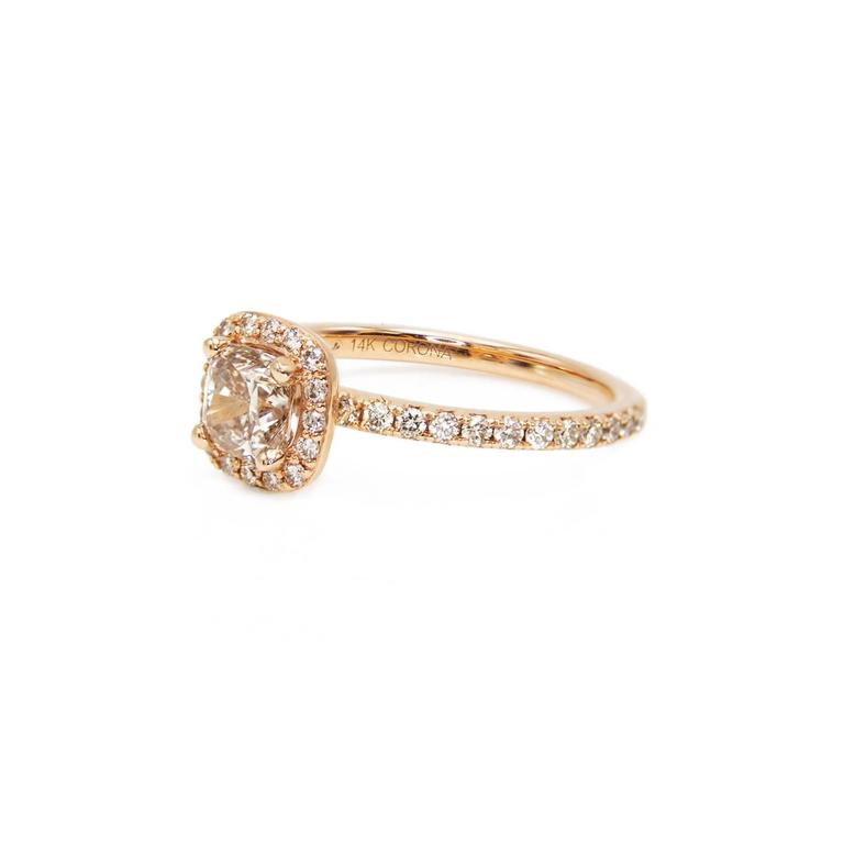 Rose Gold Cushion Canadian Champagne Diamond Engagement Ring with Diamond Band For Sale 1