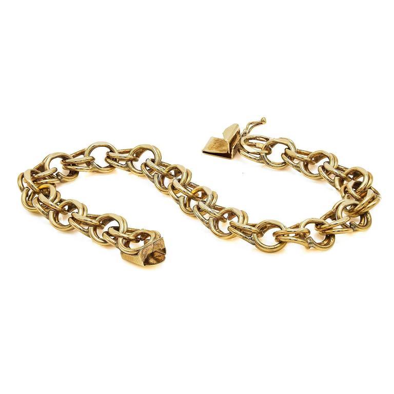 Modern Gold Chain Link Bracelet For Sale