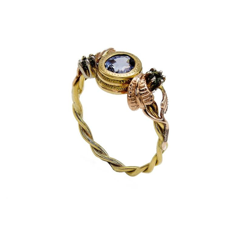 Women's Artisan Sapphire Ring with Rose Gold Leaves and Detailed Bezel For Sale