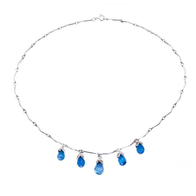 Romantic Blue Topaz and Diamond 'Droplets' Necklace For Sale