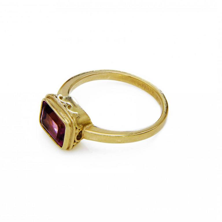 emerald cut pink tourmaline gold ring for sale at 1stdibs