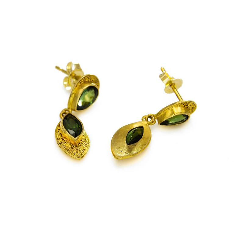 Contemporary Pear and Marquise Deep Green Tourmaline Post Earrings For Sale