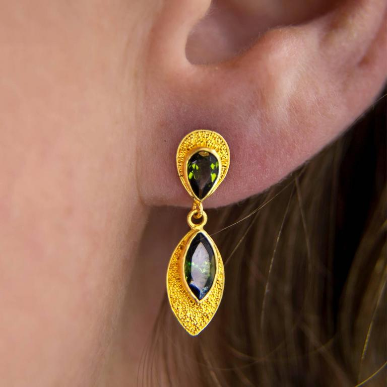 Women's Pear and Marquise Deep Green Tourmaline Post Earrings For Sale