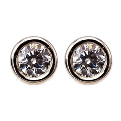Diamond Platinum 'Hearts on Fire' Stud Earrings