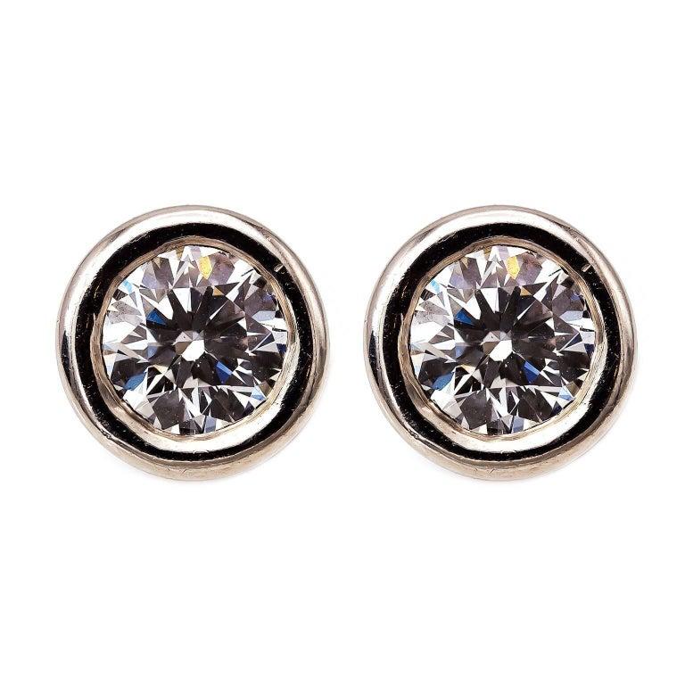 Diamond Platinum 'Hearts on Fire' Stud Earrings