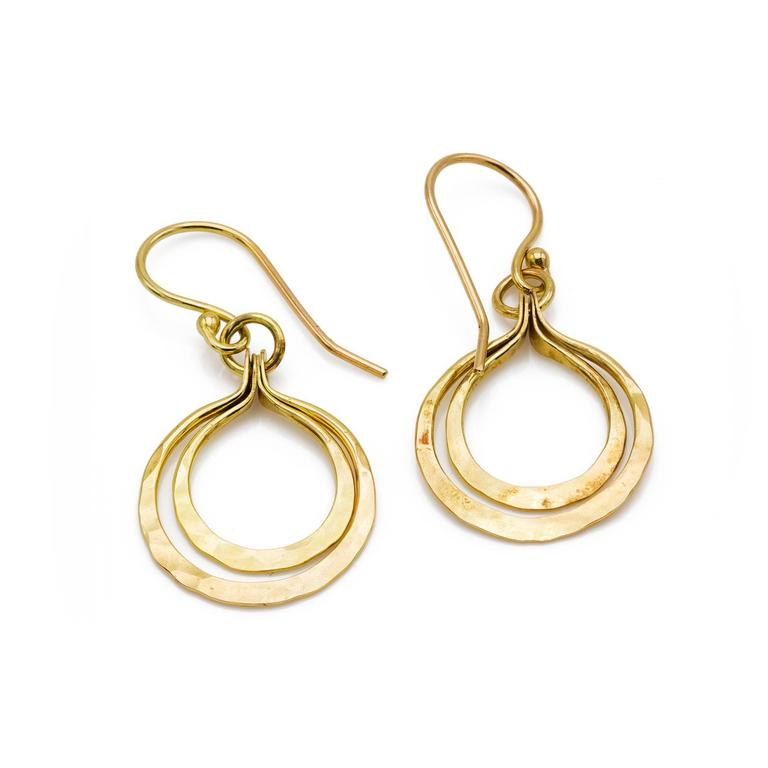 These Beautiful Slightly Hammered Double Hoops Earrings Are Elegant And Fun The Creative Artistic Design