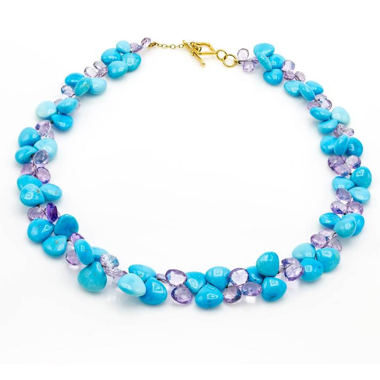 Turquoise Amethyst Briolette Gold Necklace For Sale At 1stdibs