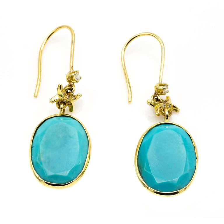 Modern Turquoise and Gold Earrings with Embellished Diamond Accents For Sale