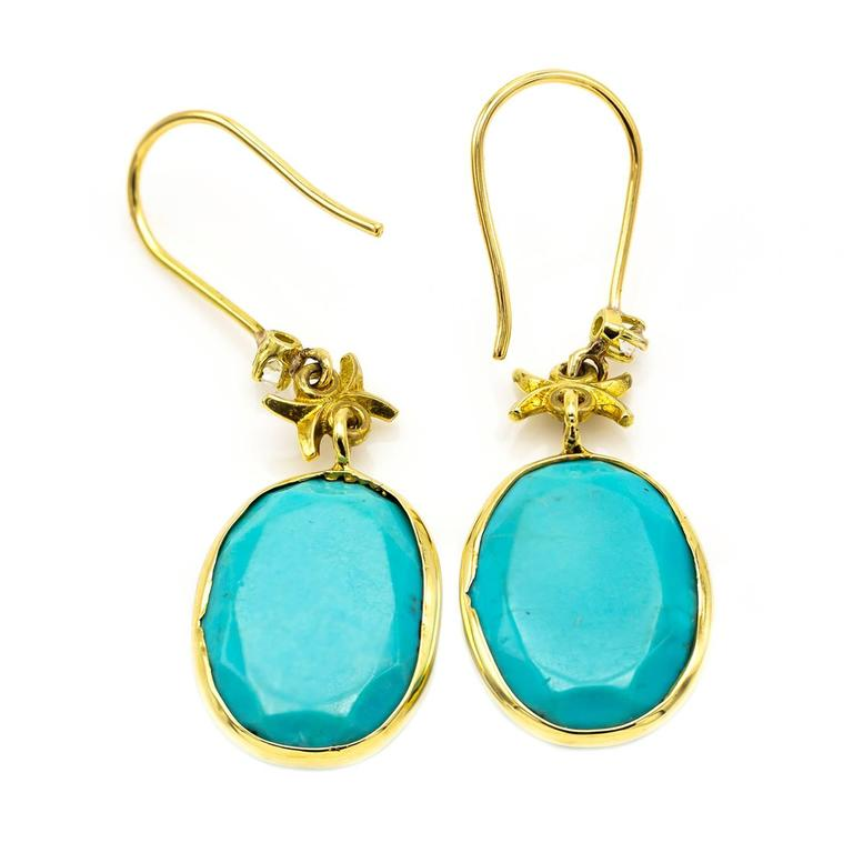 Turquoise and Gold Earrings with Embellished Diamond Accents In Excellent Condition For Sale In Berkeley, CA
