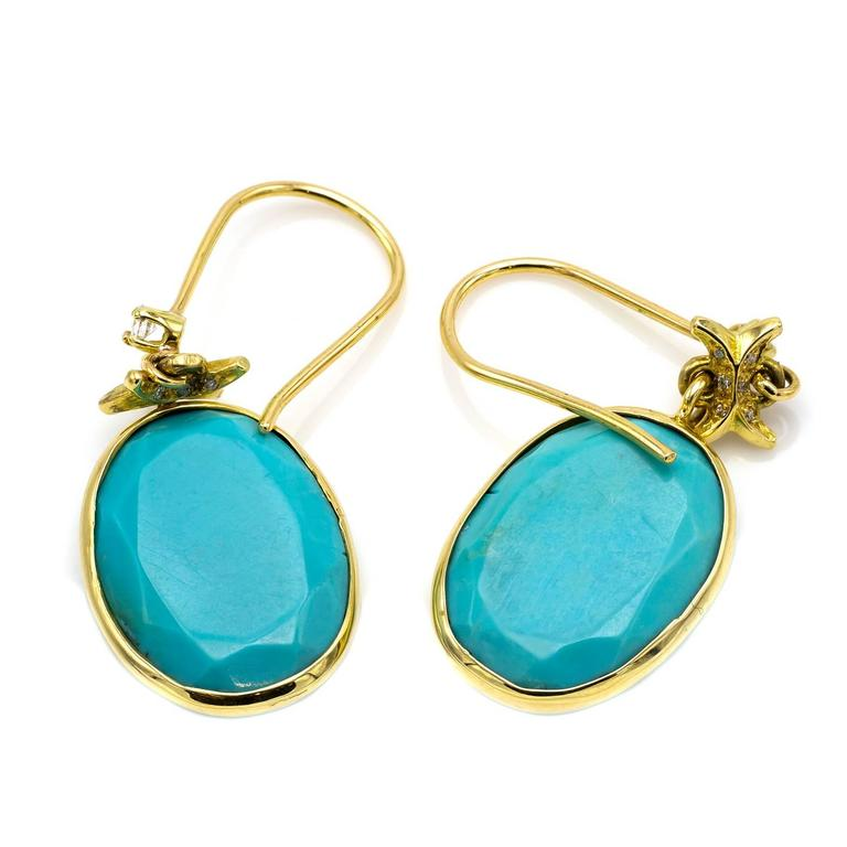 Turquoise and Gold Earrings with Embellished Diamond Accents 5