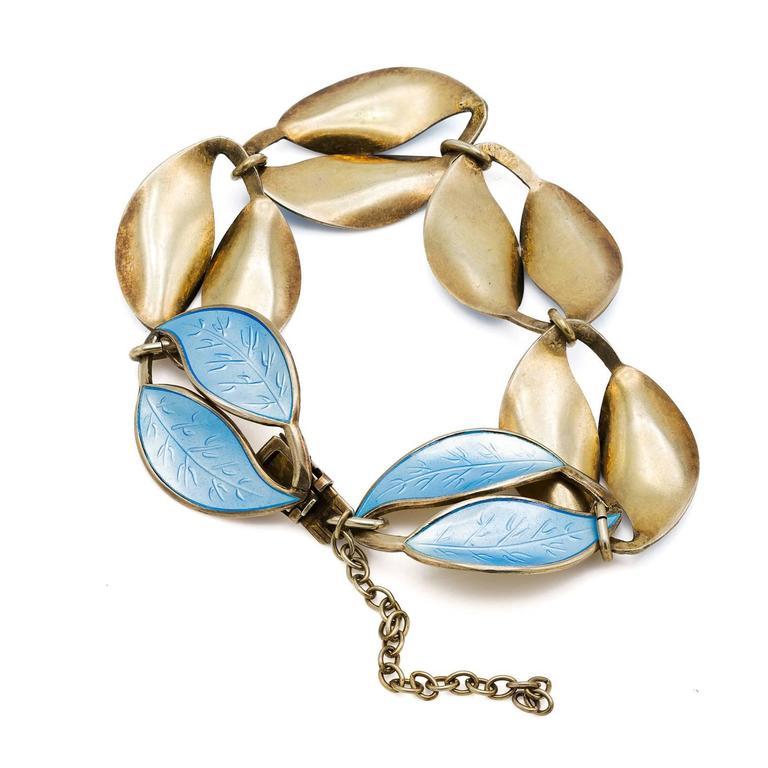 Light Blue Enamel Leaf Bracelet In Sterling Silver For