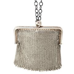 Art Deco Sterling Silver Mini Mesh Purse Pendant