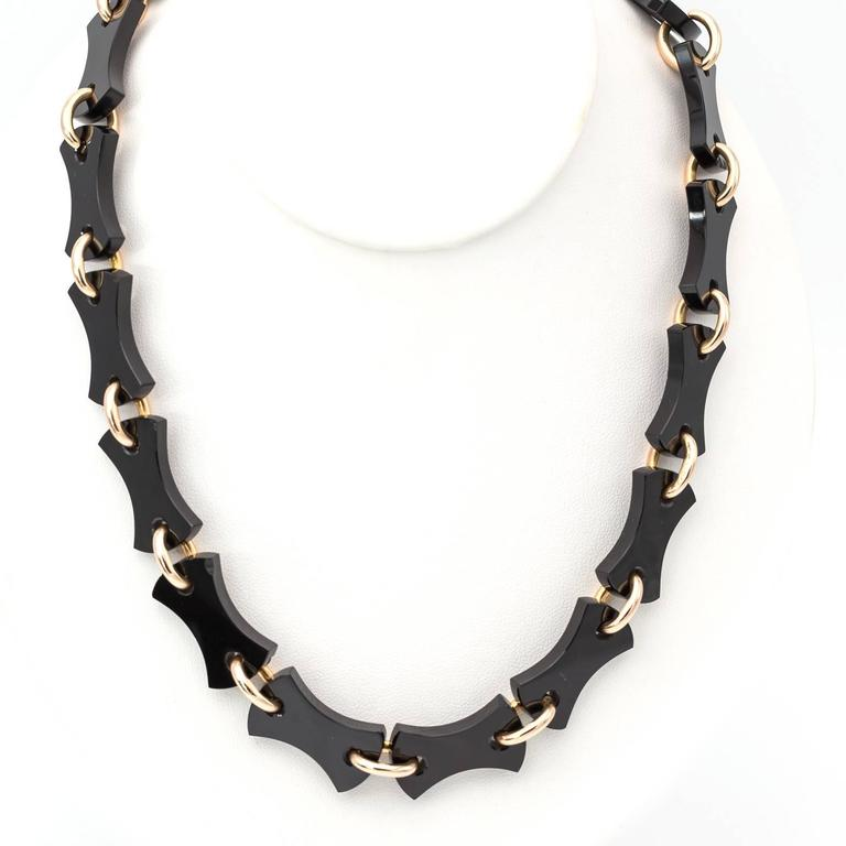 Black Onyx and Rose Gold Victorian Mourning Chain Link Necklace In Excellent Condition For Sale In Berkeley, CA