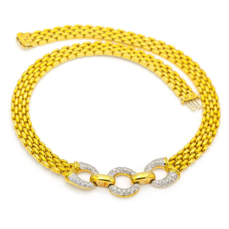 Modern Yellow Gold Chain Link Necklace with Three Diamond Pave Circles For Sale