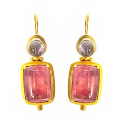 Large Square Pink Tourmaline and Tear Moonstone Earrings in Yellow Gold