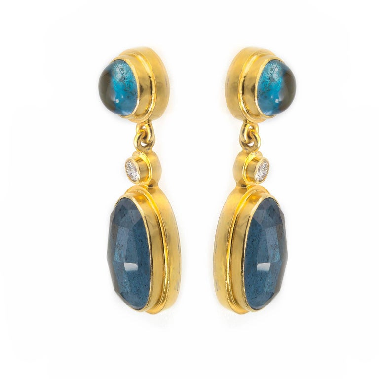 Moss Aquamarine and Blue Tourmaline Drop Earrings in Yellow Gold with Diamonds In Excellent Condition For Sale In Berkeley, CA