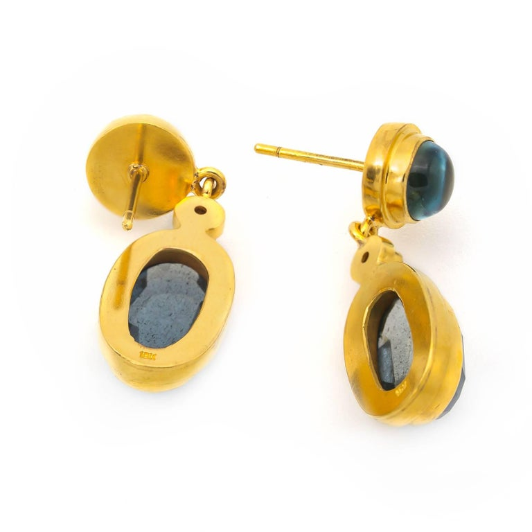 Women's Moss Aquamarine and Blue Tourmaline Drop Earrings in Yellow Gold with Diamonds For Sale