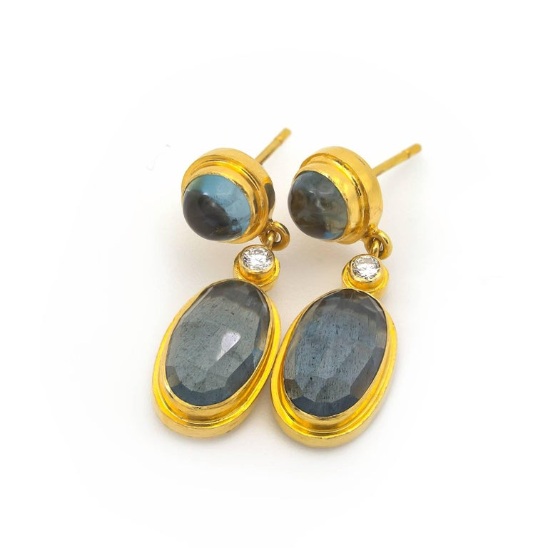 Moss Aquamarine and Blue Tourmaline Drop Earrings in Yellow Gold with Diamonds For Sale 1