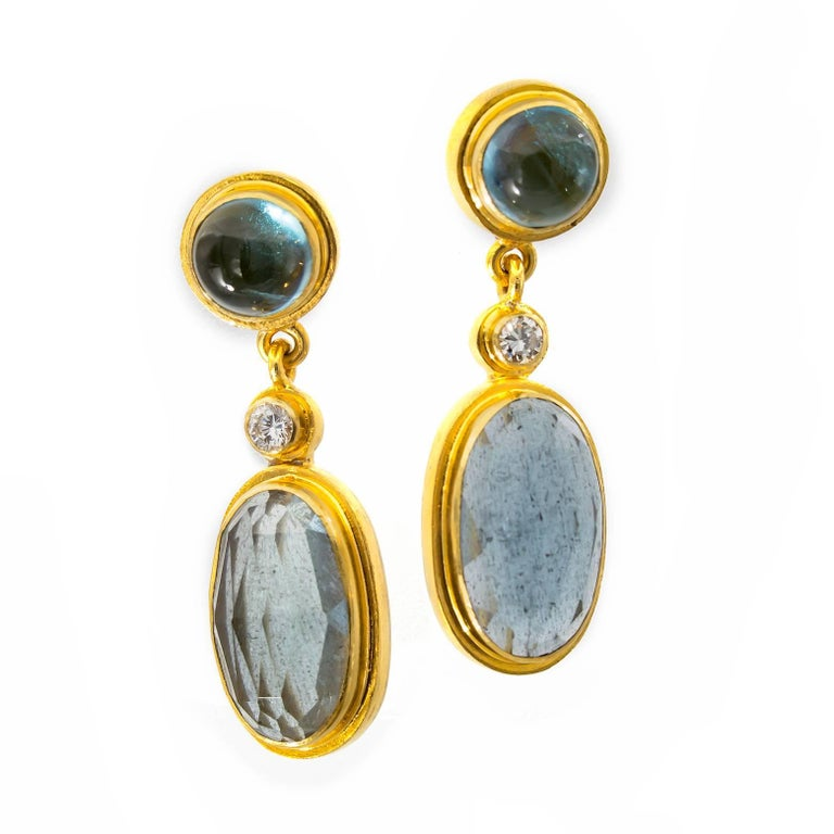 Contemporary Moss Aquamarine and Blue Tourmaline Drop Earrings in Yellow Gold with Diamonds For Sale