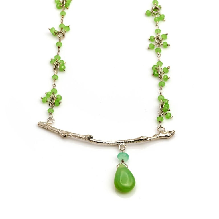 Peruvian Opal and Chrysoprase Branch Necklace 2