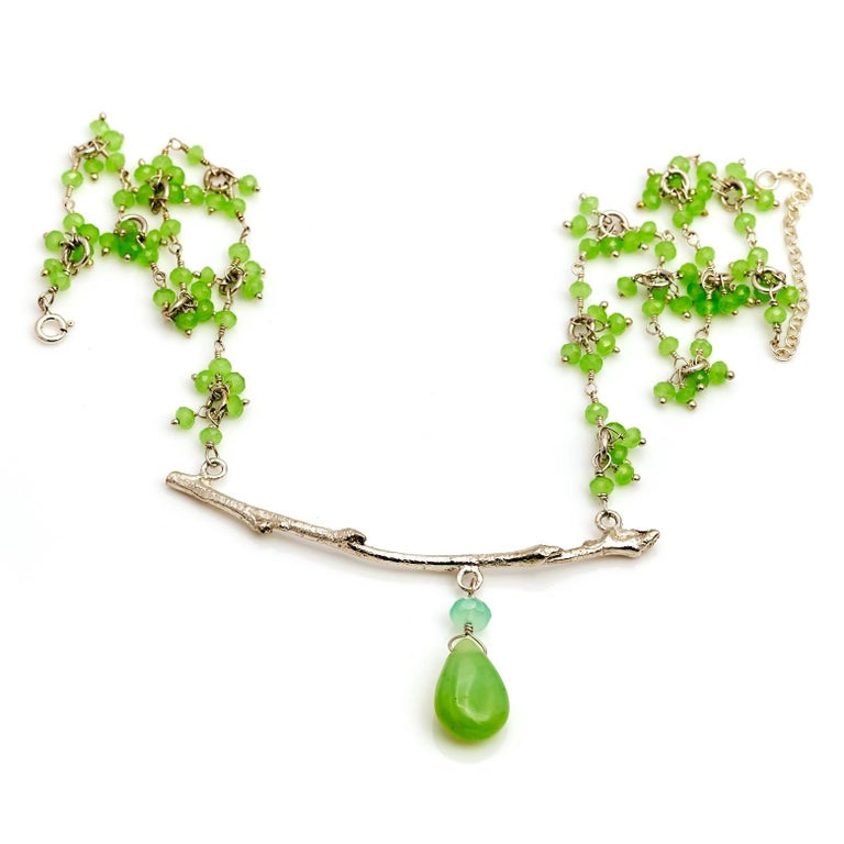 Peruvian Opal and Chrysoprase Branch Necklace 3