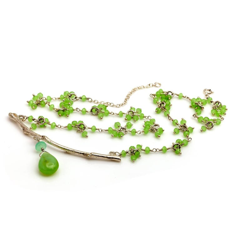 Peruvian Opal and Chrysoprase Branch Necklace 5