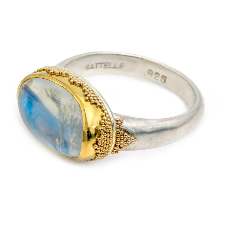 Contemporary Oval Moonstone Ring with Gold Triangle Granulation Yellow and White Satin Gold For Sale