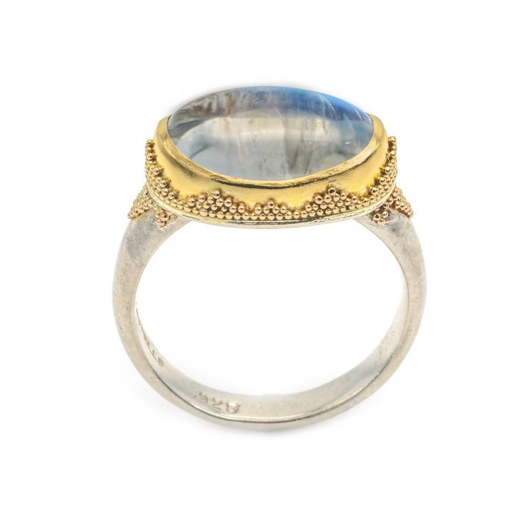 Oval Cut Oval Moonstone Ring with Gold Triangle Granulation Yellow and White Satin Gold For Sale