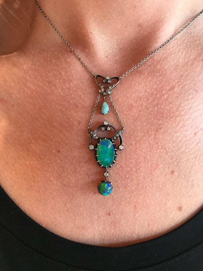 Three Opal and Diamond Edwardian Gold and Silver Pendant Necklace In Excellent Condition For Sale In Berkeley, CA