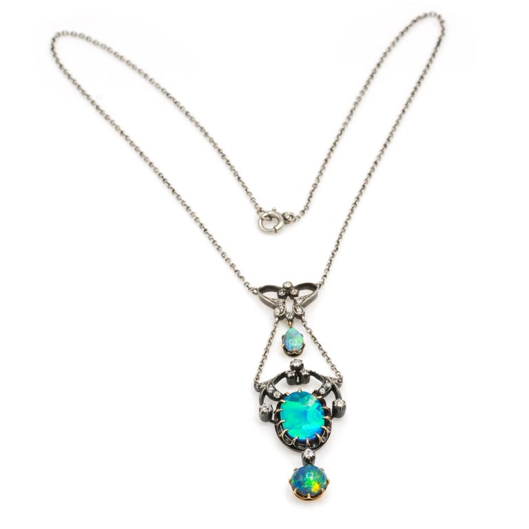 Oval Cut Three Opal and Diamond Edwardian Gold and Silver Pendant Necklace For Sale