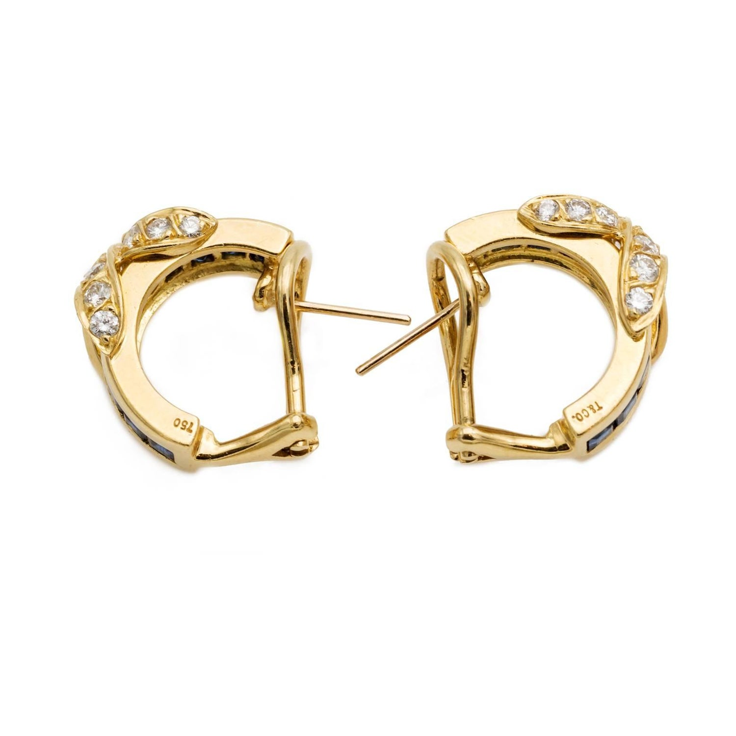 Tiffany and Co Diamond Sapphires Hoop Earrings at 1stdibs