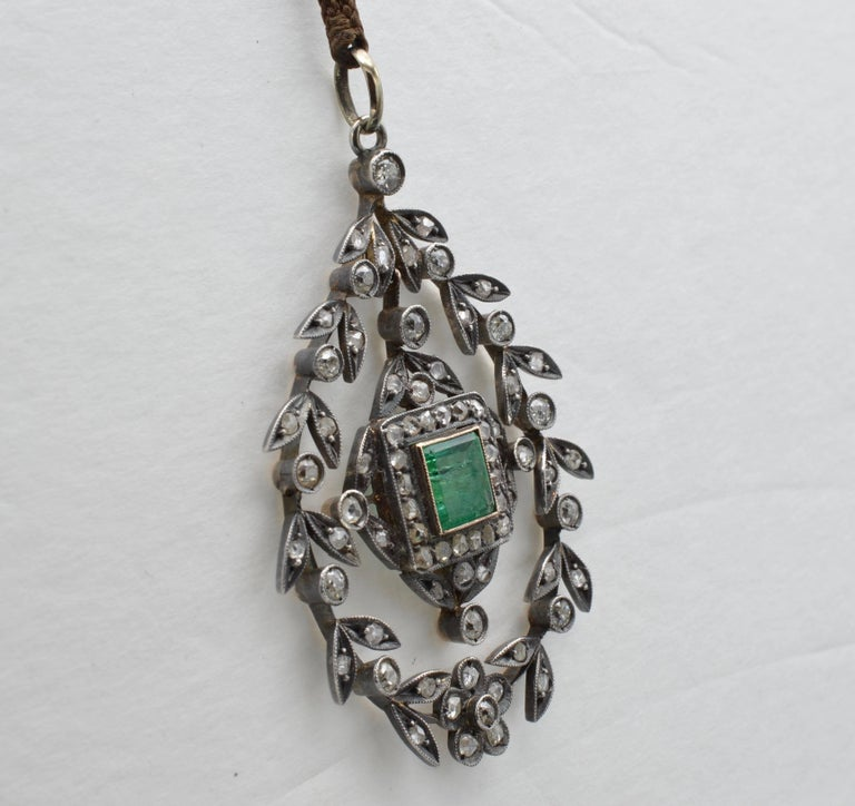 Victorian Edwardian Emerald Square Old Mine Cut Diamonds Pendant Silver 1890 Trembleuse