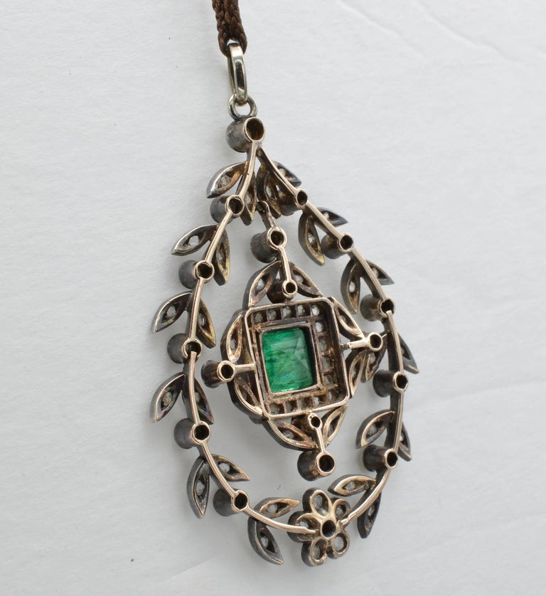Women's Edwardian Emerald Square Old Mine Cut Diamonds Pendant Silver 1890 Trembleuse