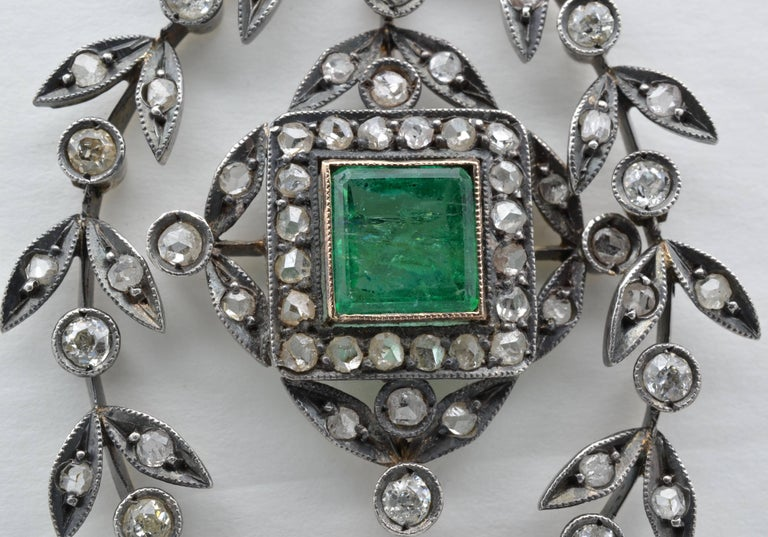 Edwardian Emerald Square Old Mine Cut Diamonds Pendant Silver 1890 Trembleuse 1