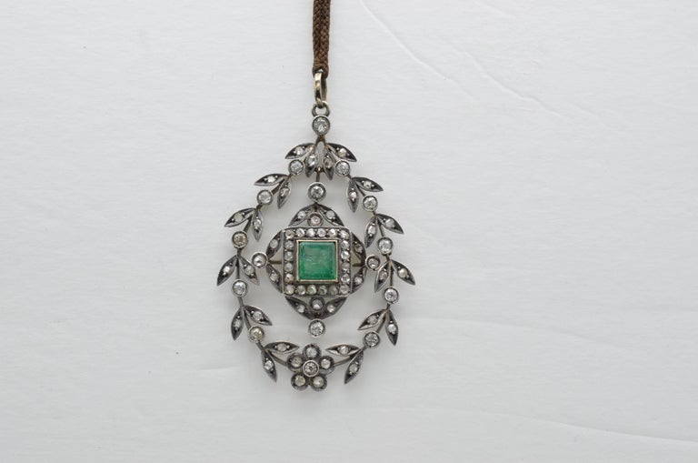 Edwardian Emerald Square Old Mine Cut Diamonds Pendant Silver 1890 Trembleuse 5