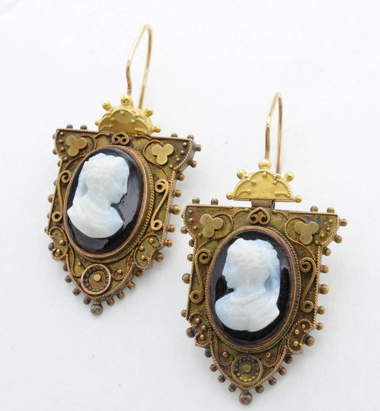 Victorian Antique Cameo Earrings In Rose Gold With Intricate Detail For