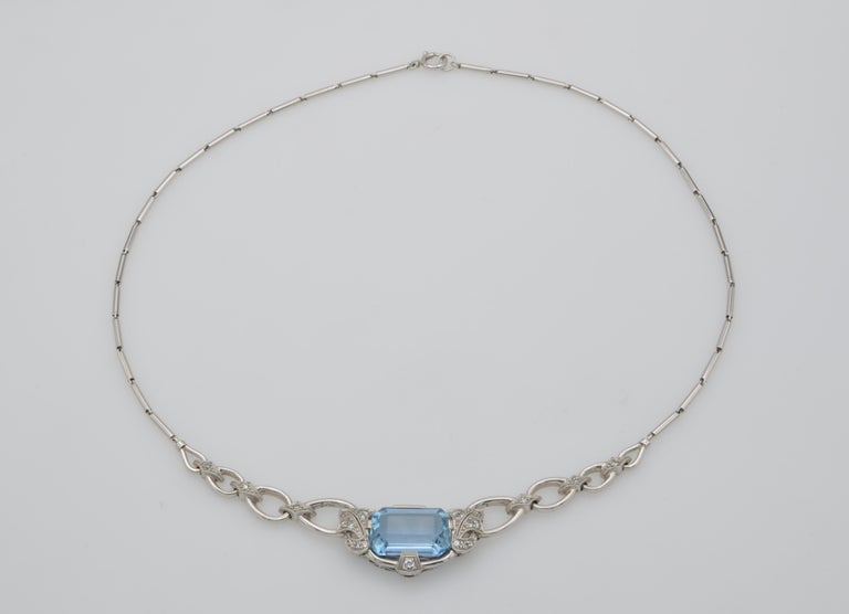 Retro 60's Aquamarine Diamond Gold Necklace In Excellent Condition For Sale In Berkeley, CA