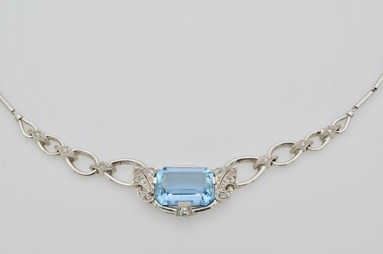 Women's Retro 60's Aquamarine Diamond Gold Necklace For Sale