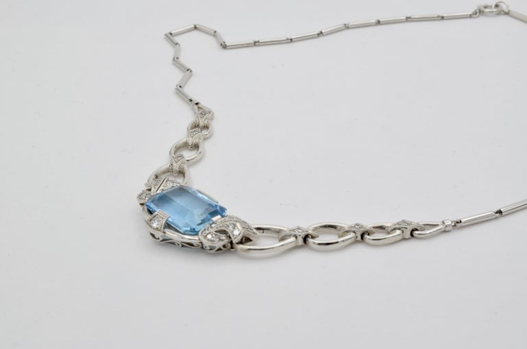 Retro 60's Aquamarine Diamond Gold Necklace For Sale 3