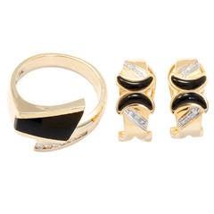 Beautiful Onyx Diamond Gold Ring and Earring Set