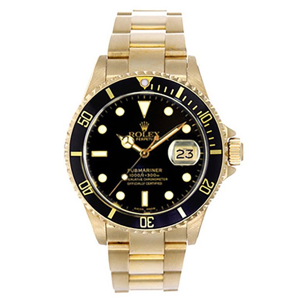 Rolex Yellow Gold Submariner Wristwatch Ref 16618 For Sale ...