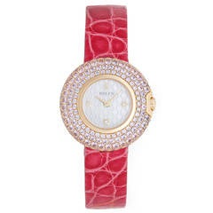 Rolex Ladies Gold and Pink Sapphire Cellini Orchid Wristwatch Model 6201/9
