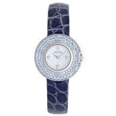 Rolex Lady's White Gold and Blue Sapphire Cellini Orchid Wristwatch Ref 6201/9