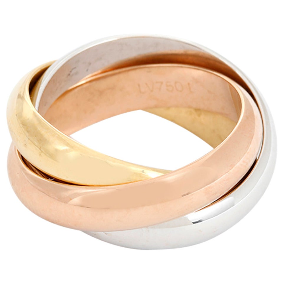 cartier tri color gold ring at 1stdibs