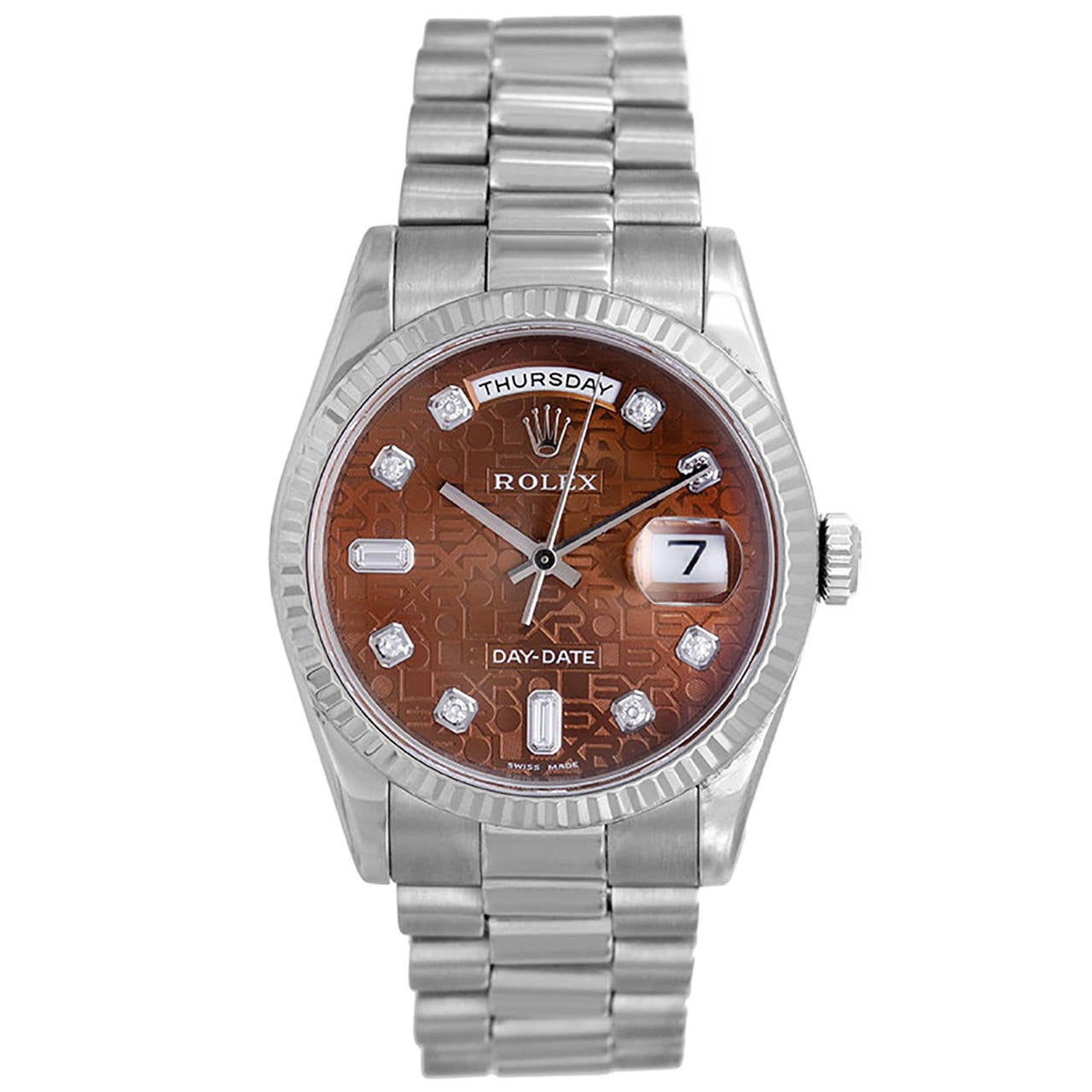 Rolex White Gold Day-Date Diamond Dial President Wristwatch Ref 118239